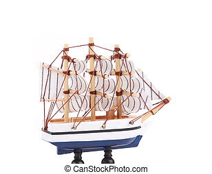 Boat model Small wooden ship Isolated on a white background...