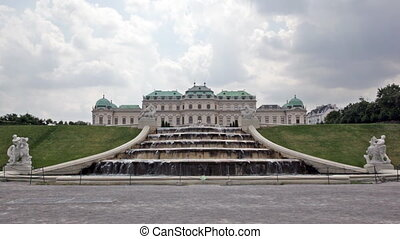 cascade of fountains at the Belvedere palace in Vienna