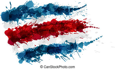 Flag of Costa Rica made of colorful splashes