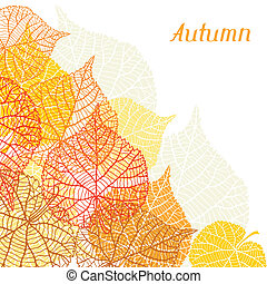 Background, greeting card with stylized autumn leaves