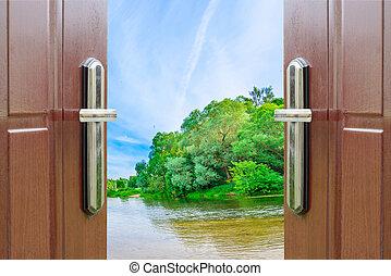 open door - Open the door handle and keys