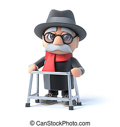 3d Grandpa with walking frame - 3d render of an old man with...