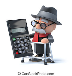 3d Grandpa and calculator - 3d render of an old man with a...