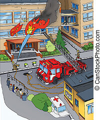 Fire safety. Fire. Drawing.