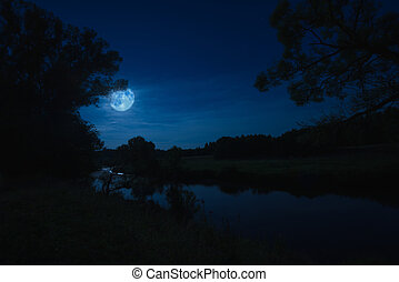 river at night with fog - night landscape nature river view...
