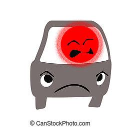 road rage driver frustration red face illustration