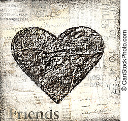 grunge heart collage painting, artwork is created and...