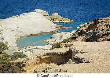 Sarakiniko beach - VIew of Sarakiniko beach in Milos island,...