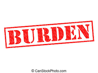 BURDEN red Rubber Stamp over a white background.