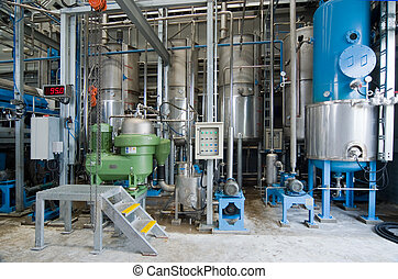 Processing plant - Interior of industrial processing plant...