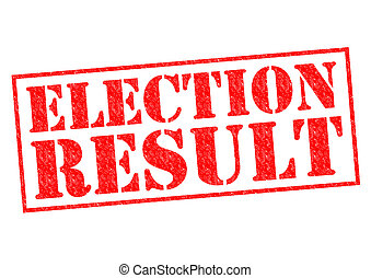 ELECTION RESULT red Rubber Stamp over a white background