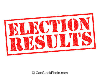 ELECTION RESULTS red Rubber Stamp over a white background.