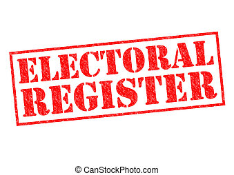 ELECTORAL REGISTER red Rubber Stamp over a white background.