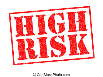 HIGH RISK red Rubber Stamp over a white background