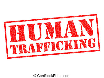HUMAN TRAFFICKING red Rubber Stamp over a white background
