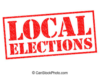 LOCAL ELECTIONS red Rubber Stamp over a white background.