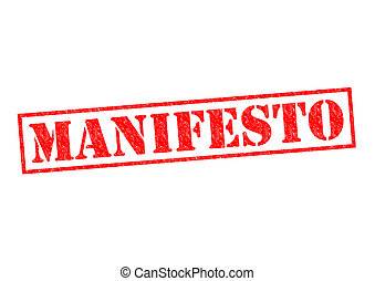 MANIFESTO red Rubber Stamp over a white background.