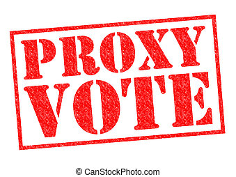 PROXY VOTE red Rubber Stamp over a white background