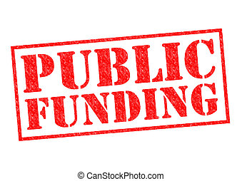 PUBLIC FUNDING red Rubber Stamp over a white background