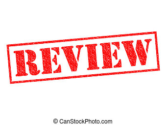 REVIEW red Rubber Stamp over a white background
