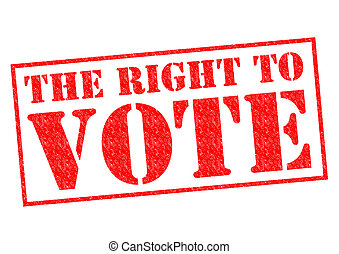 THE RIGHT TO VOTE red Rubber Stamp over a white background