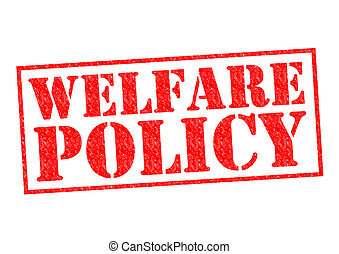 WELFARE POLICY red Rubber Stamp over a white background