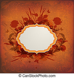 Vintage background with label and flowers