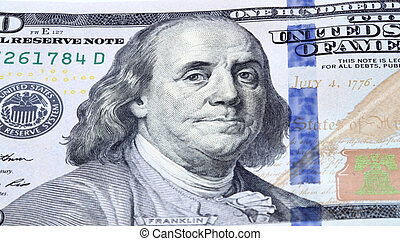 Franklin - Dollar bill closeup Portrait of Franklin