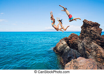 Friends cliff jumping into the ocean - Summer fun, Friends...