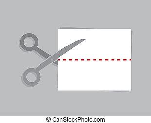 Scissors Paper Dotted Line - Scissors cutting a piece of...