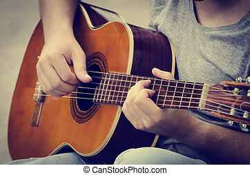 gitarr, leker,  man