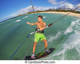 Kiteboarding, Fun in the Ocean, Extreme Sport