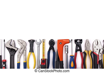 Work tools on white background. - Work tools lined up in a...