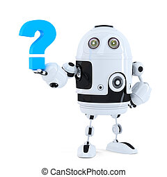 Cute 3D robot with question mark. Isolated. Contains clipping path