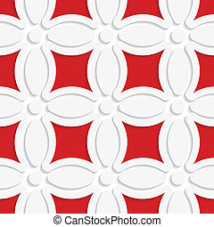 Geometric white pattern with red