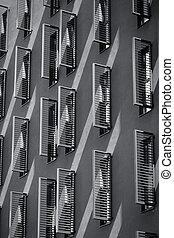 edificio, cara inferior, vista