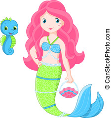 Mermaid and her cute pet sea horse