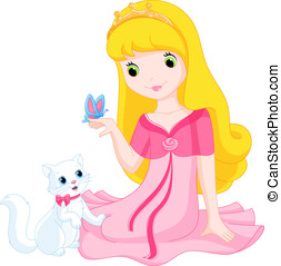 Princess - Beautiful princess and her cat and looking at a...