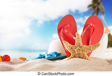 verano, playa, rojo, sandalias, conchas