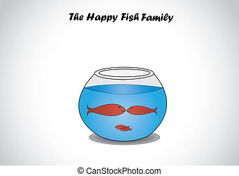 red happy fish family in glass bowl