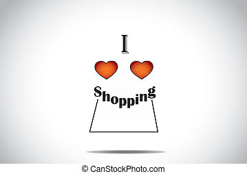 I love shopping red love heart icon