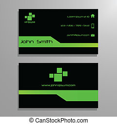 Business visit card template - green and black in modern...