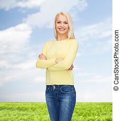 smiling girl in casual clothes - happiness and people...