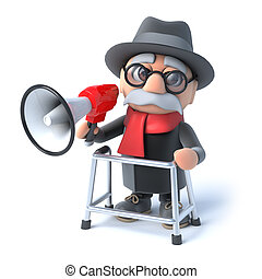 3d Grandpa with a megaphone - 3d render of an old man with...