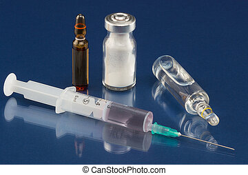 Syringe, vial and ampoule - Syringe with hypodermic needle,...