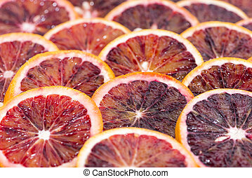 Blood Orange Slices as detailed close-up shot for background...