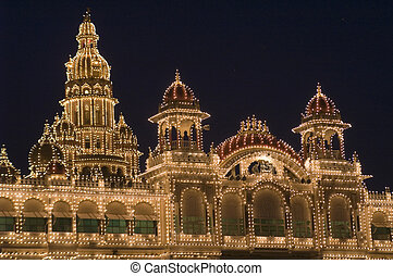 Mysore City Palace illuminated by thousands of light-bulbs....