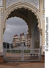 Entrance to Mysore Palace - City Palace in Mysore Southern...