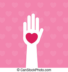 Hand Heart - Hand with pink heart symbol
