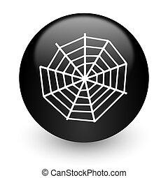 spider web black glossy internet icon - black glossy...